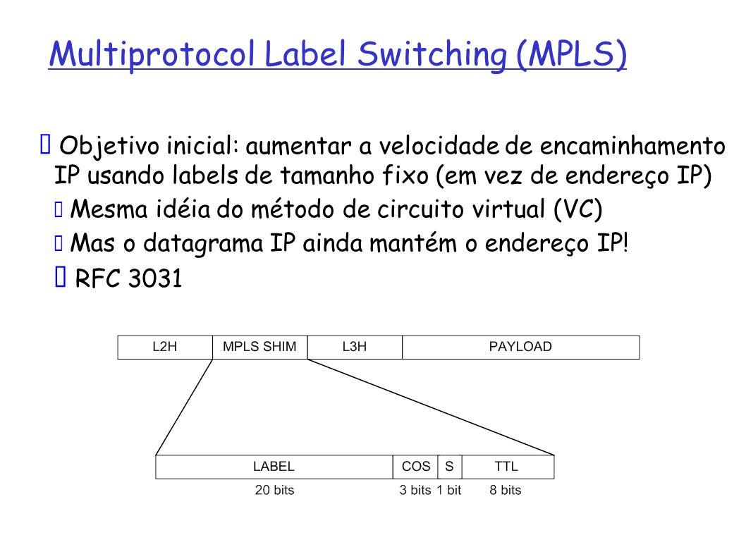 Objetivo inicial: aumentar a velocidade de encaminhamento IP usando labels de tamanho fixo (em vez de endereço IP) Mesma idéia do método de circuito v