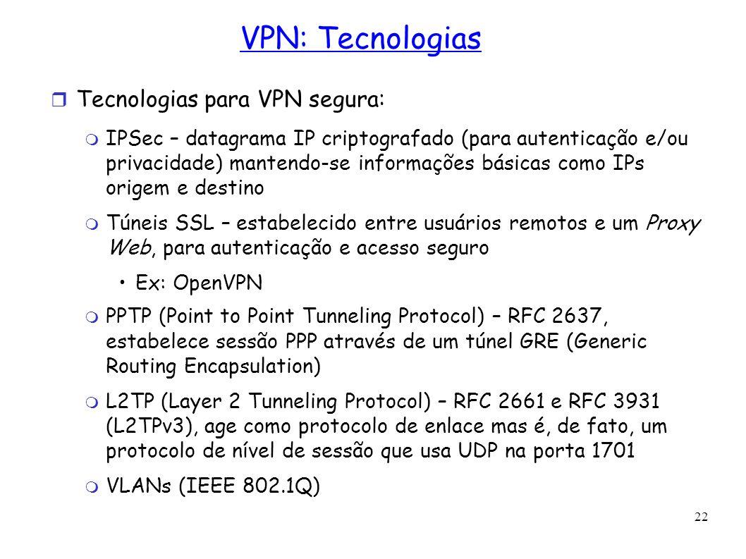 22 VPN: Tecnologias Tecnologias para VPN segura: IPSec – datagrama IP criptografado (para autenticação e/ou privacidade) mantendo-se informações básic