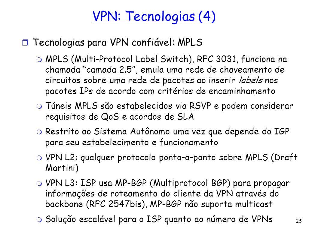 25 VPN: Tecnologias (4) Tecnologias para VPN confiável: MPLS MPLS (Multi-Protocol Label Switch), RFC 3031, funciona na chamada camada 2.5, emula uma r