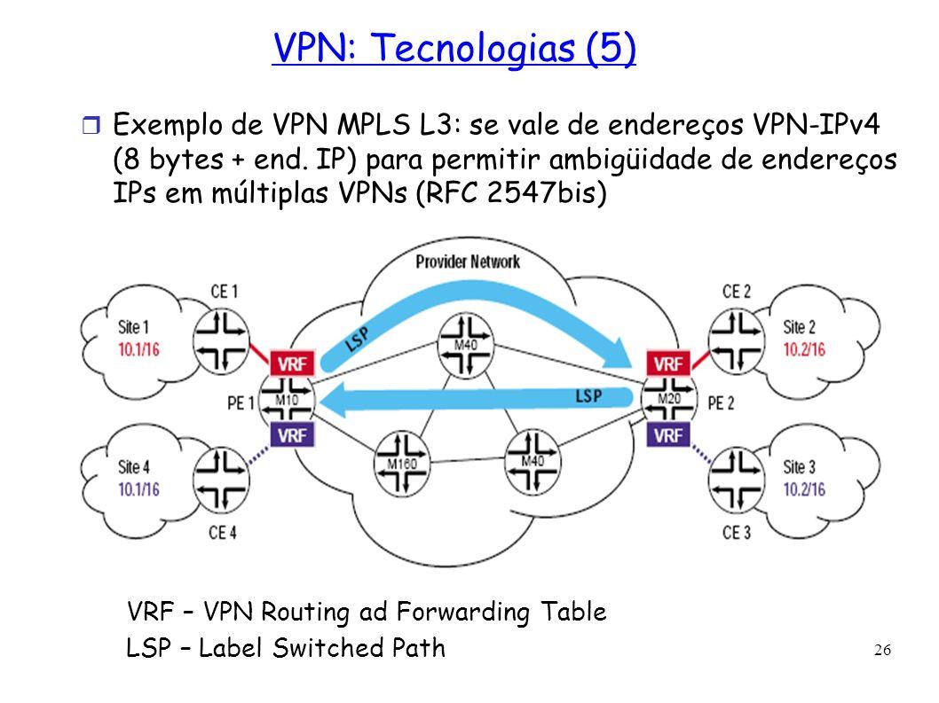 26 VPN: Tecnologias (5) Exemplo de VPN MPLS L3: se vale de endereços VPN-IPv4 (8 bytes + end. IP) para permitir ambigüidade de endereços IPs em múltip