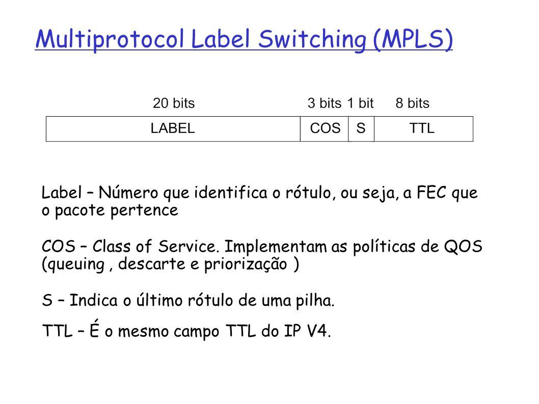 Multiprotocol label switching (MPLS) Multiprotocol Label Switching (MPLS) Label – Número que identifica o rótulo, ou seja, a FEC que o pacote pertence