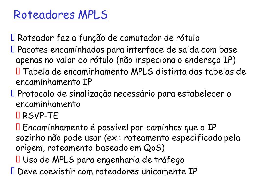 25 VPN: Tecnologias (4) Tecnologias para VPN confiável: MPLS MPLS (Multi-Protocol Label Switch), RFC 3031, funciona na chamada camada 2.5, emula uma rede de chaveamento de circuitos sobre uma rede de pacotes ao inserir labels nos pacotes IPs de acordo com critérios de encaminhamento Túneis MPLS são estabelecidos via RSVP e podem considerar requisitos de QoS e acordos de SLA Restrito ao Sistema Autônomo uma vez que depende do IGP para seu estabelecimento e funcionamento VPN L2: qualquer protocolo ponto-a-ponto sobre MPLS (Draft Martini) VPN L3: ISP usa MP-BGP (Multiprotocol BGP) para propagar informações de roteamento do cliente da VPN através do backbone (RFC 2547bis), MP-BGP não suporta multicast Solução escalável para o ISP quanto ao número de VPNs