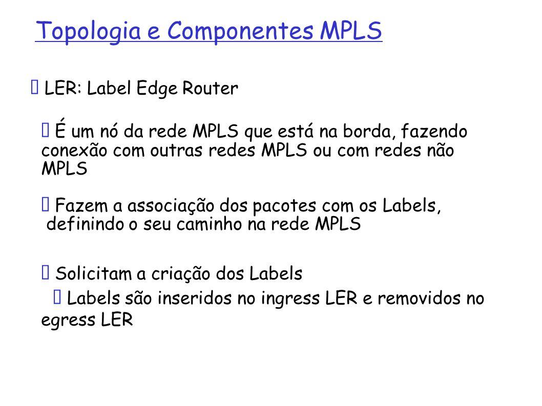 Topologia e Componentes MPLS LSR: Label Switching Router É um nó da rede MPLS que faz a comutação e encaminhamento dos pacotes utilizando Labels Formam o core de uma rede MPLS Em geral, tratam-se de roteadores IPs ou switches L3