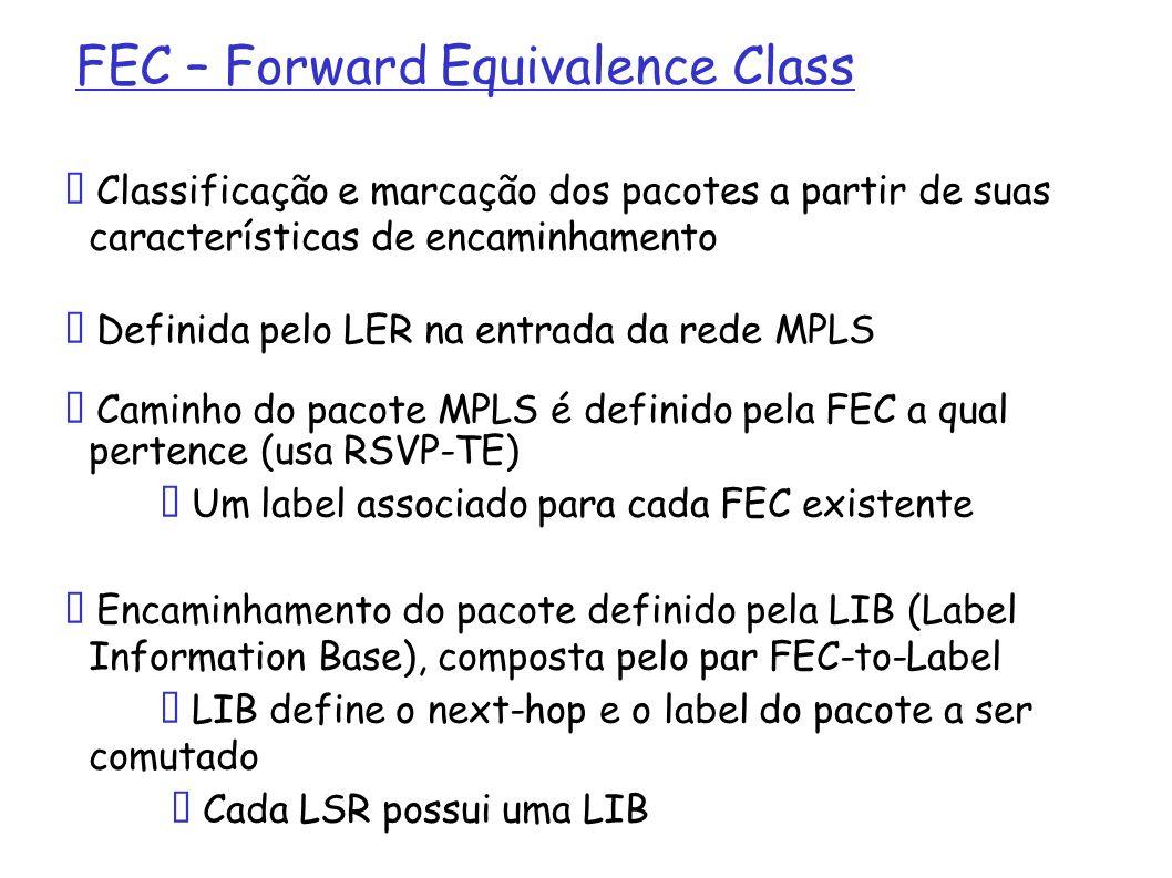FEC – Forward Equivalence Class Exemplos: Todos os pacotes destinados a um mesmo egress LER Todos os pacotes com um mesmo COS (Class of Service) Todos os pacotes com uma mesma rede de destino.