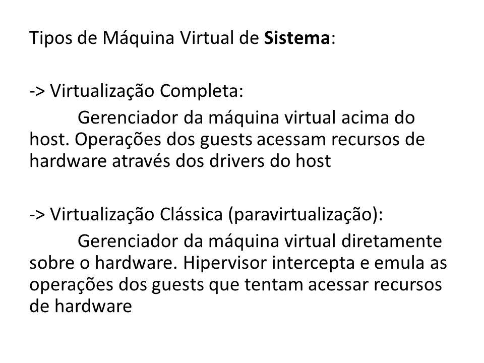 Tipos de Máquina Virtual de Sistema: -> Virtualização Completa: Gerenciador da máquina virtual acima do host. Operações dos guests acessam recursos de