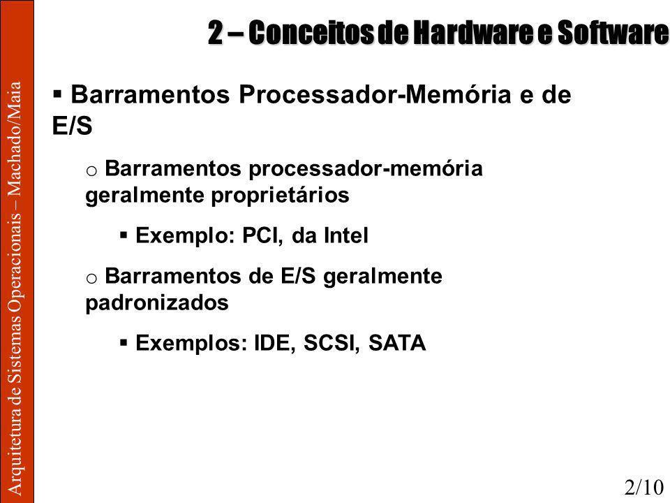 Arquitetura de Sistemas Operacionais – Machado/Maia 2 – Conceitos de Hardware e Software Barramentos Processador-Memória e de E/S o Barramentos proces