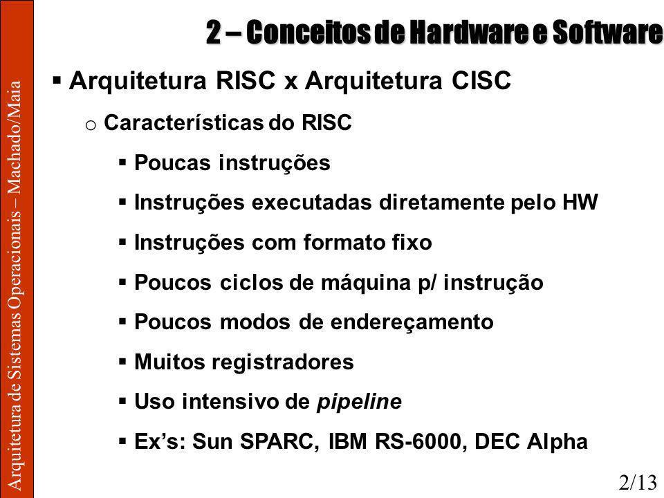 Arquitetura de Sistemas Operacionais – Machado/Maia 2 – Conceitos de Hardware e Software Arquitetura RISC x Arquitetura CISC o Características do RISC