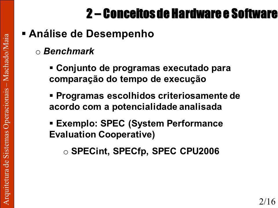 Arquitetura de Sistemas Operacionais – Machado/Maia 2 – Conceitos de Hardware e Software Análise de Desempenho o Benchmark Conjunto de programas execu