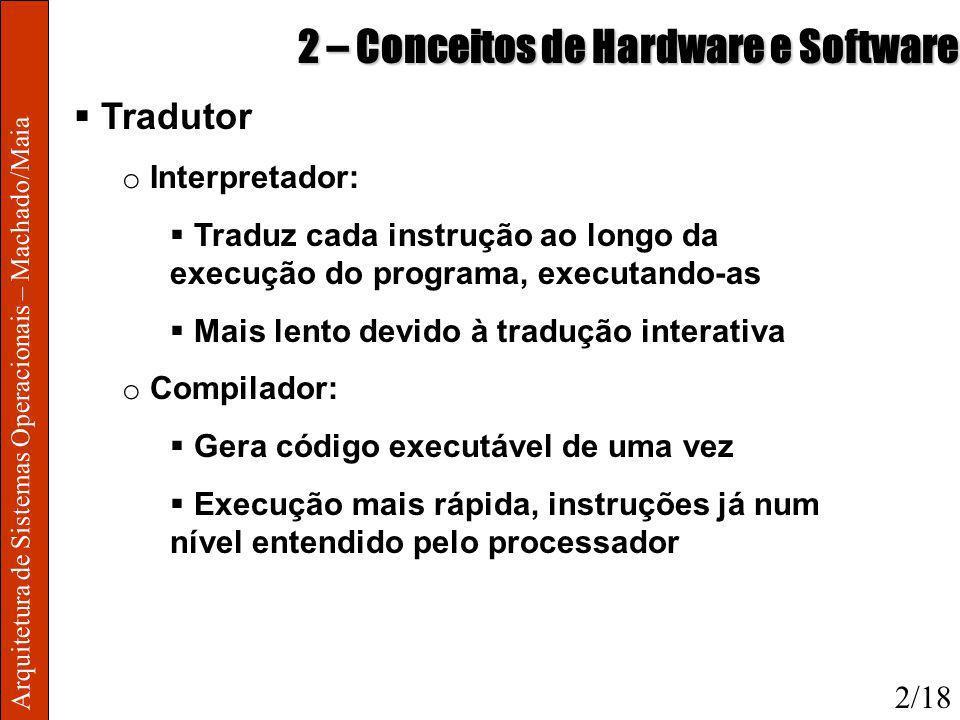 Arquitetura de Sistemas Operacionais – Machado/Maia 2 – Conceitos de Hardware e Software Tradutor o Interpretador: Traduz cada instrução ao longo da e