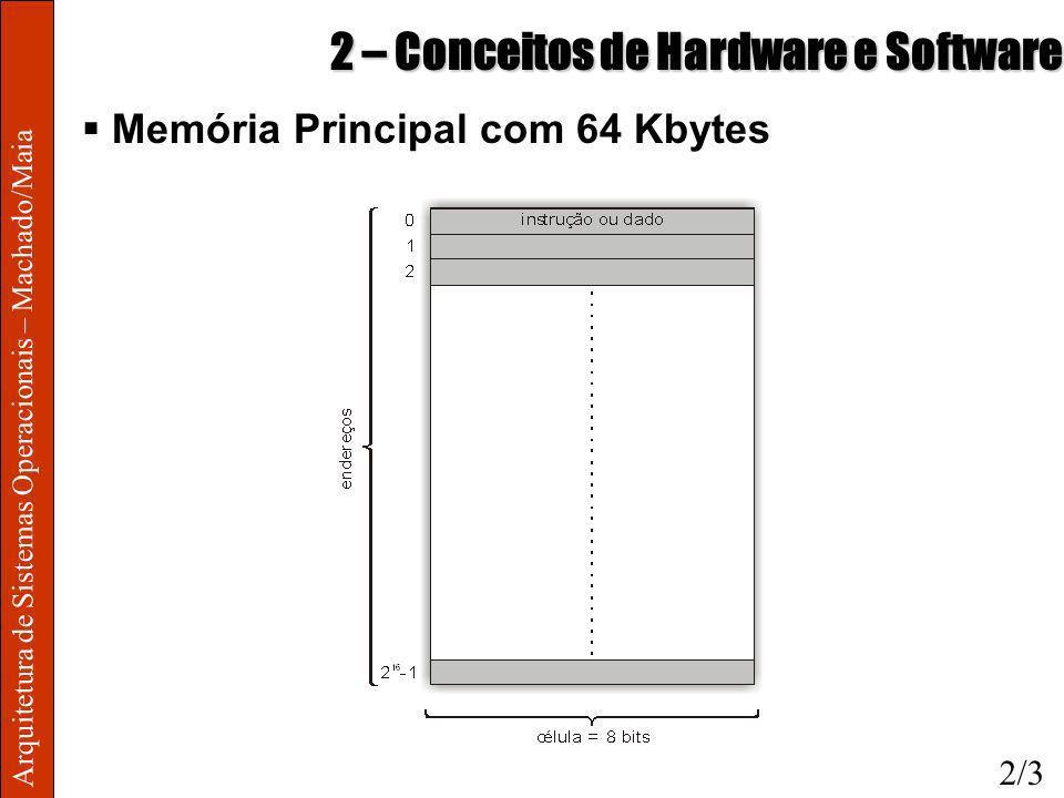 Arquitetura de Sistemas Operacionais – Machado/Maia 2 – Conceitos de Hardware e Software Memória Principal com 64 Kbytes o Tamanho das células pode variar, geralmente 1 byte o Acesso à memória através do MAR e do MBR MAR (Memory Address Register) MBR (Memory Buffer Register) o Se barramento de memória com n bits (idem para o MAR), endereça no máximo 2 n endereços o Ciclo de leitura ou gravação em 4 passos 2/4