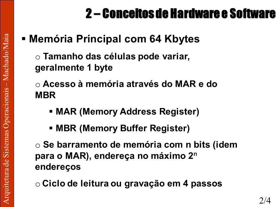 Arquitetura de Sistemas Operacionais – Machado/Maia 2 – Conceitos de Hardware e Software Memória Principal com 64 Kbytes o Tamanho das células pode va