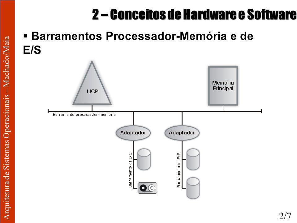 Arquitetura de Sistemas Operacionais – Machado/Maia 2 – Conceitos de Hardware e Software Tradutor o Interpretador: Traduz cada instrução ao longo da execução do programa, executando-as Mais lento devido à tradução interativa o Compilador: Gera código executável de uma vez Execução mais rápida, instruções já num nível entendido pelo processador 2/18