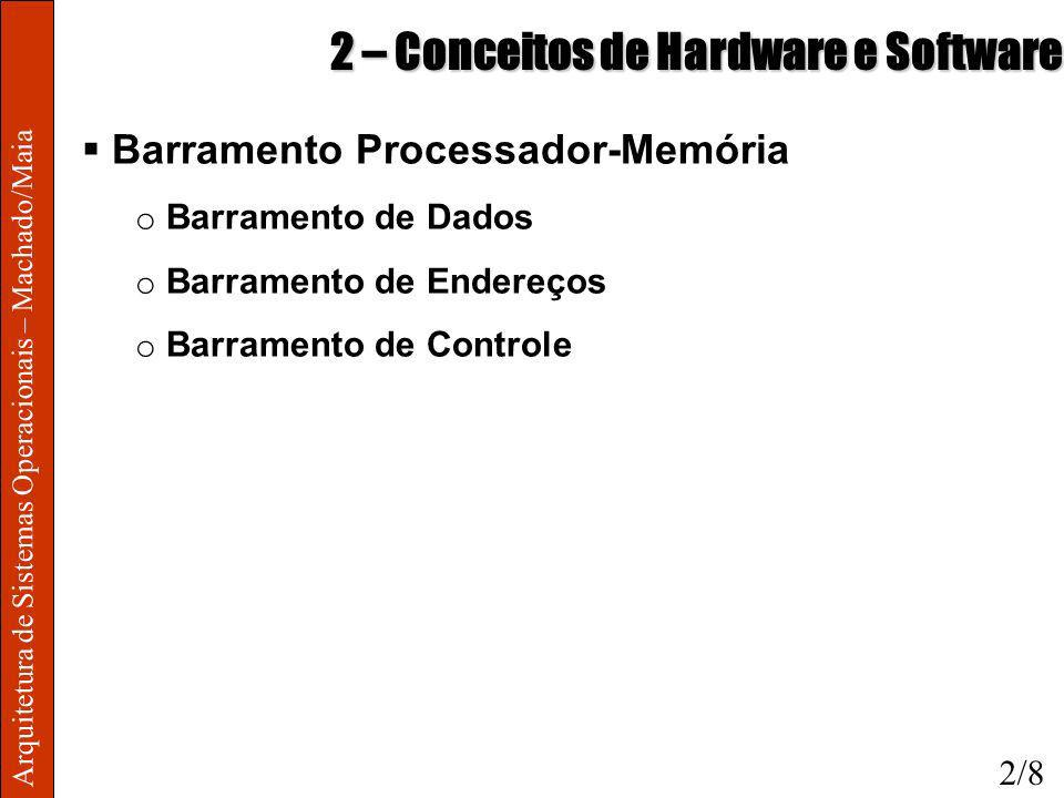 Arquitetura de Sistemas Operacionais – Machado/Maia 2 – Conceitos de Hardware e Software Barramento Processador-Memória o Barramento de Dados o Barram