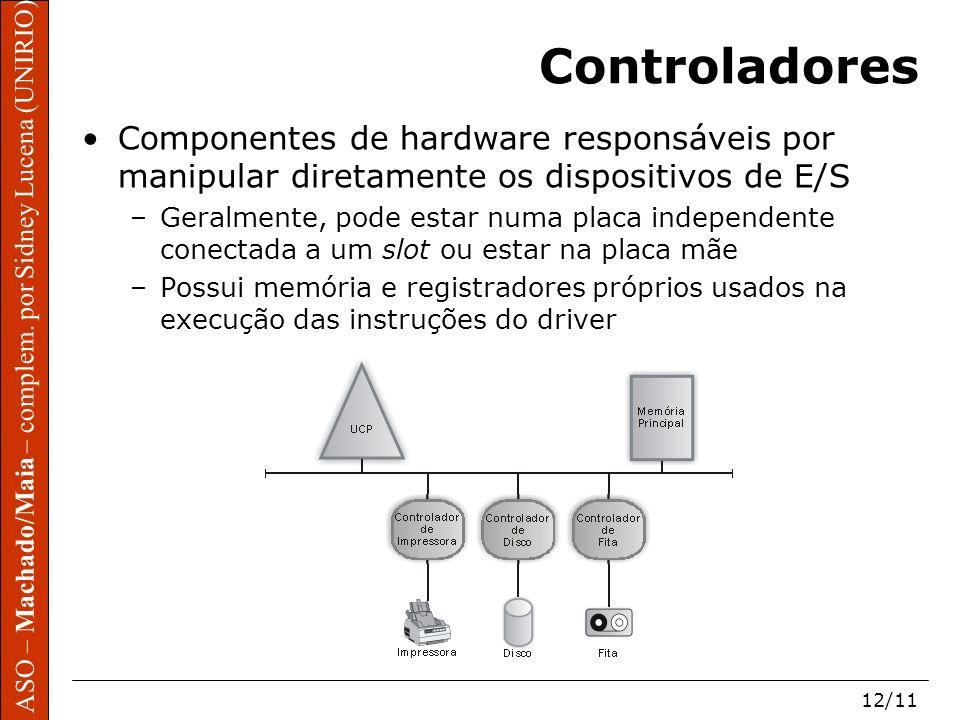 ASO – Machado/Maia – complem. por Sidney Lucena (UNIRIO) 12/11 Controladores Componentes de hardware responsáveis por manipular diretamente os disposi