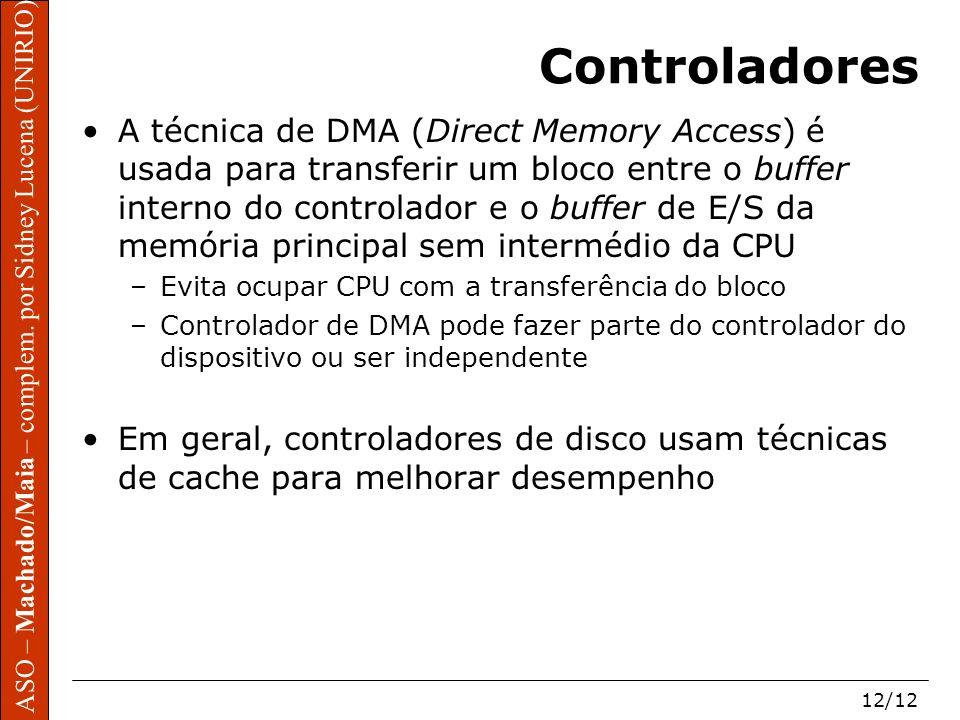 ASO – Machado/Maia – complem. por Sidney Lucena (UNIRIO) 12/12 Controladores A técnica de DMA (Direct Memory Access) é usada para transferir um bloco