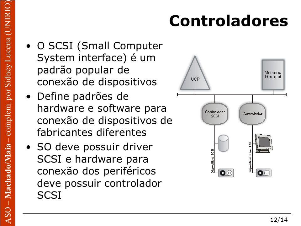 ASO – Machado/Maia – complem. por Sidney Lucena (UNIRIO) 12/14 Controladores O SCSI (Small Computer System interface) é um padrão popular de conexão d
