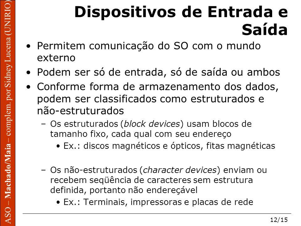 ASO – Machado/Maia – complem. por Sidney Lucena (UNIRIO) 12/15 Dispositivos de Entrada e Saída Permitem comunicação do SO com o mundo externo Podem se