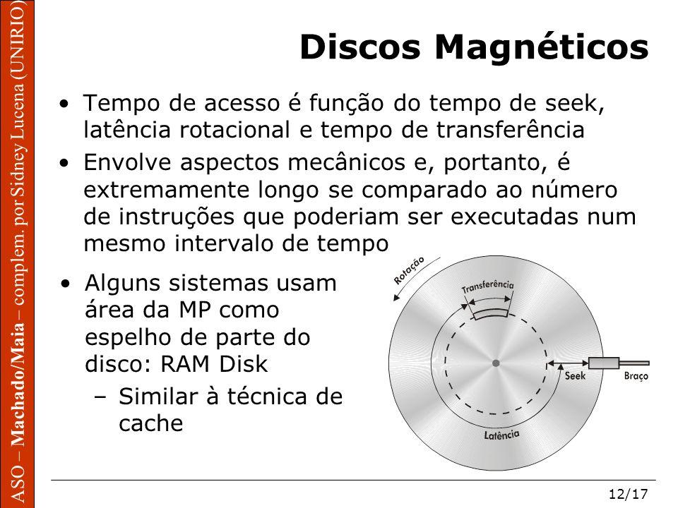 ASO – Machado/Maia – complem. por Sidney Lucena (UNIRIO) 12/17 Discos Magnéticos Tempo de acesso é função do tempo de seek, latência rotacional e temp