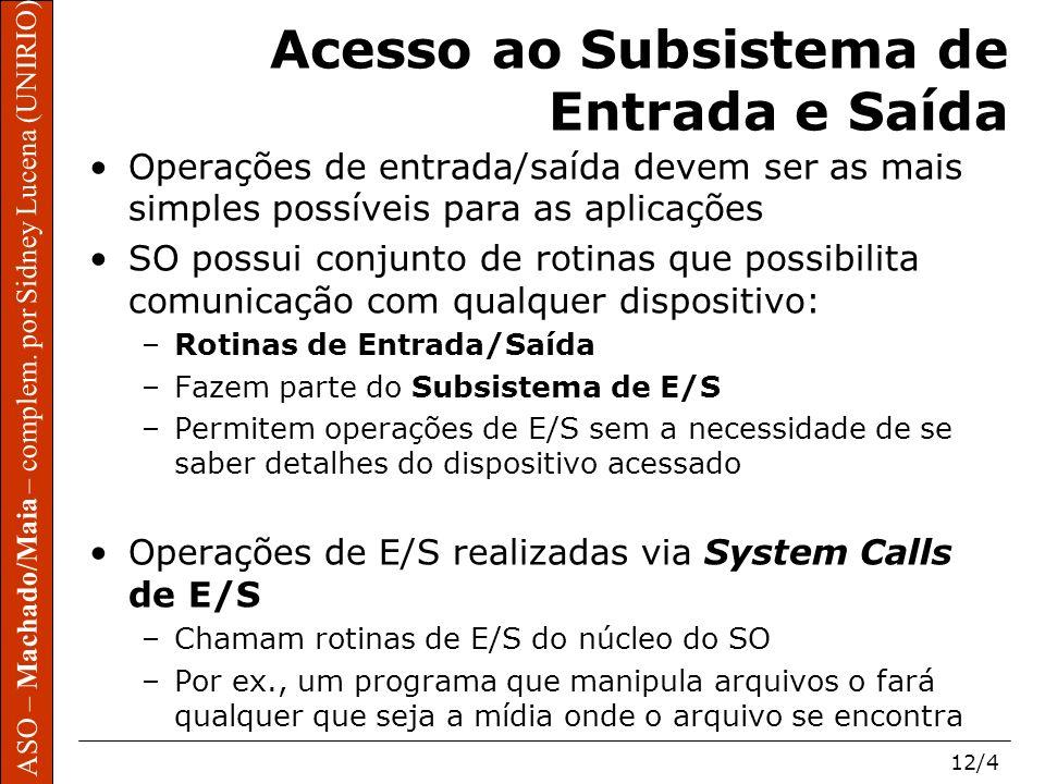 ASO – Machado/Maia – complem. por Sidney Lucena (UNIRIO) 12/4 ASO – Machado/Maia – complem. por Sidney Lucena (UNIRIO) Acesso ao Subsistema de Entrada