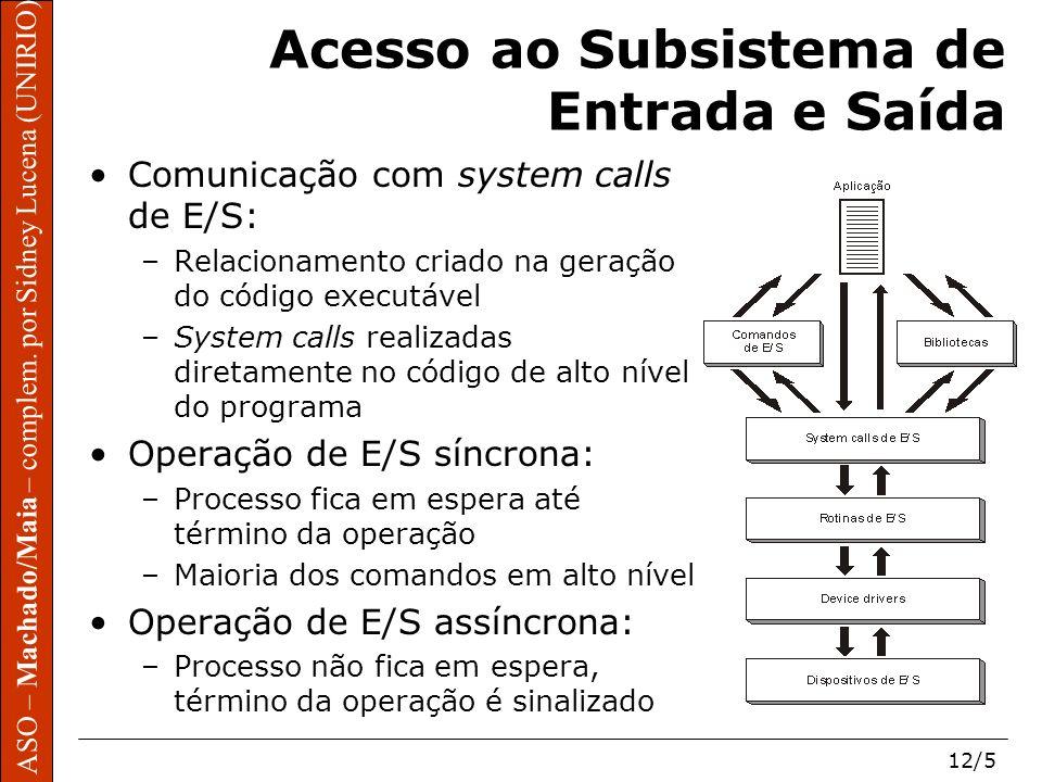 ASO – Machado/Maia – complem. por Sidney Lucena (UNIRIO) 12/5 ASO – Machado/Maia – complem. por Sidney Lucena (UNIRIO) Acesso ao Subsistema de Entrada