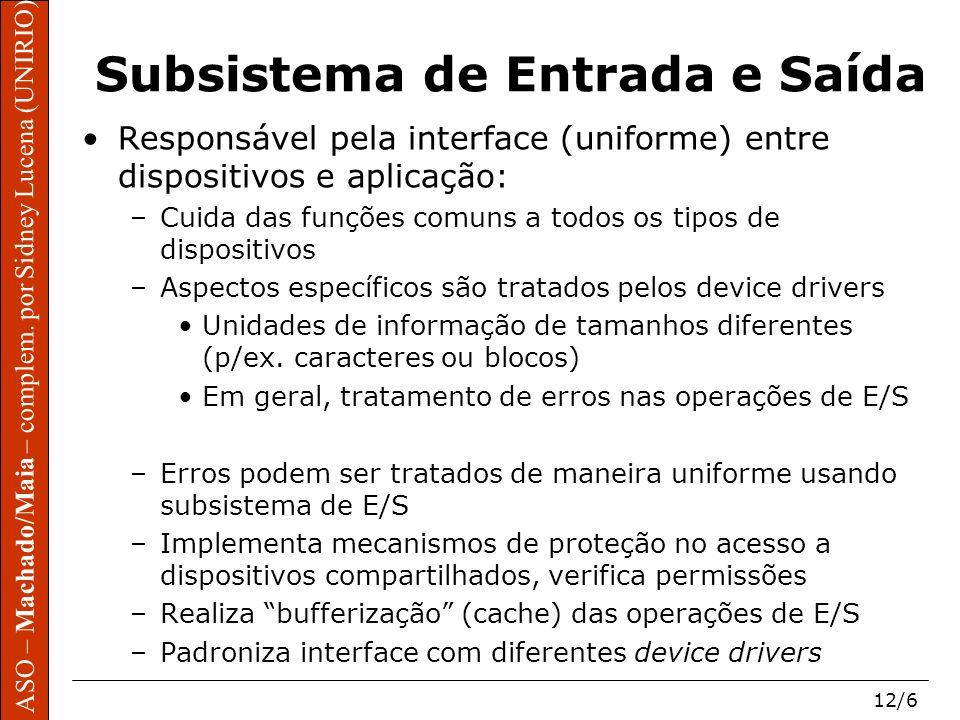 ASO – Machado/Maia – complem. por Sidney Lucena (UNIRIO) 12/6 ASO – Machado/Maia – complem. por Sidney Lucena (UNIRIO) Subsistema de Entrada e Saída R