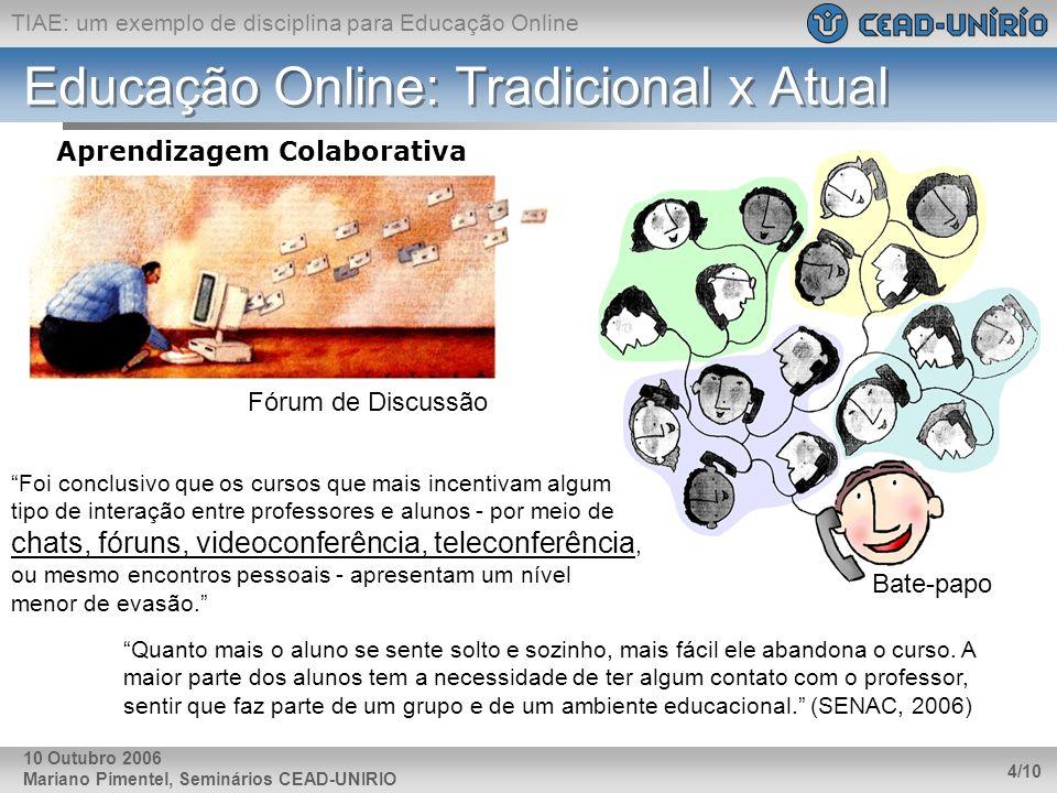 TIAE: um exemplo de disciplina para Educação Online Mariano Pimentel, Seminários CEAD-UNIRIO 4/10 10 Outubro 2006 Educação Online: Tradicional x Atual