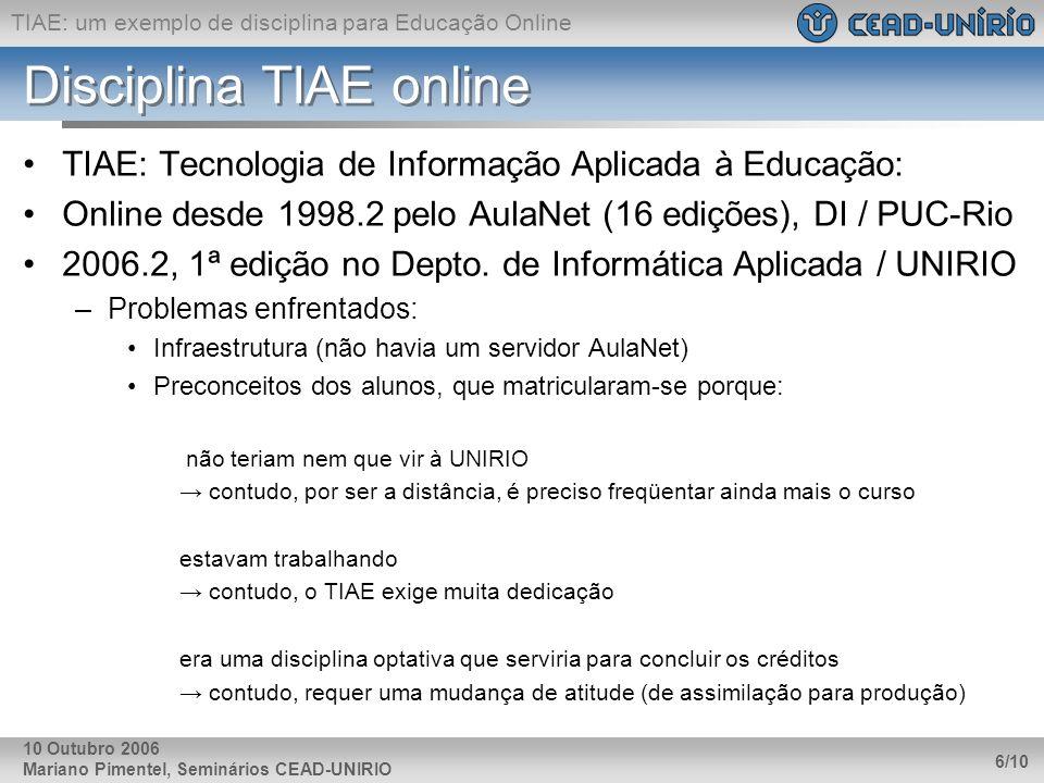 TIAE: um exemplo de disciplina para Educação Online Mariano Pimentel, Seminários CEAD-UNIRIO 6/10 10 Outubro 2006 Disciplina TIAE online TIAE: Tecnolo