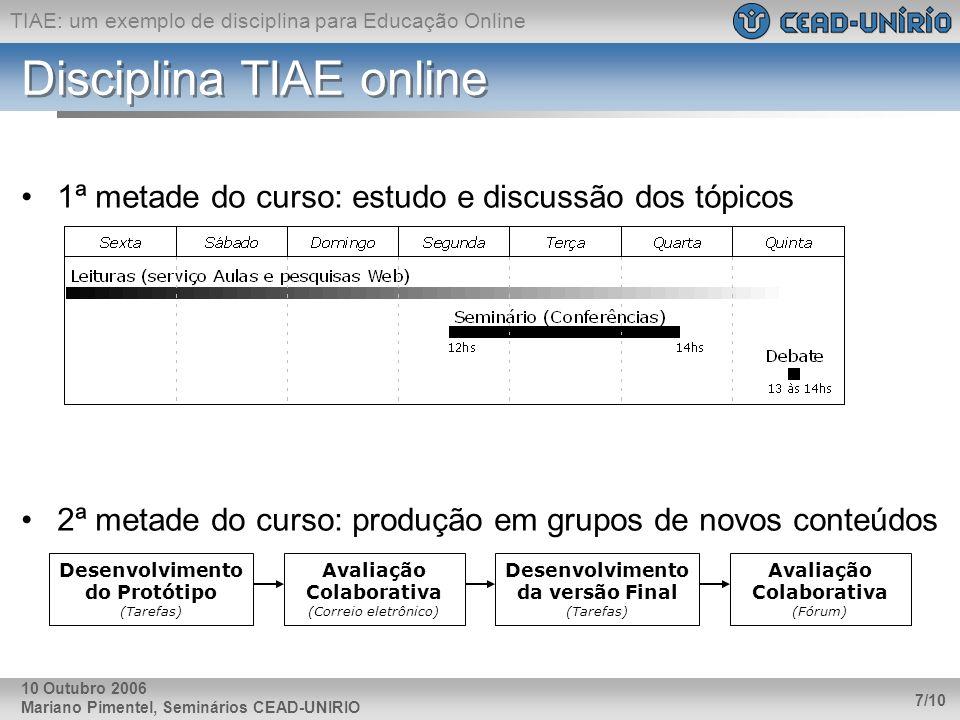 TIAE: um exemplo de disciplina para Educação Online Mariano Pimentel, Seminários CEAD-UNIRIO 7/10 10 Outubro 2006 Disciplina TIAE online 1ª metade do