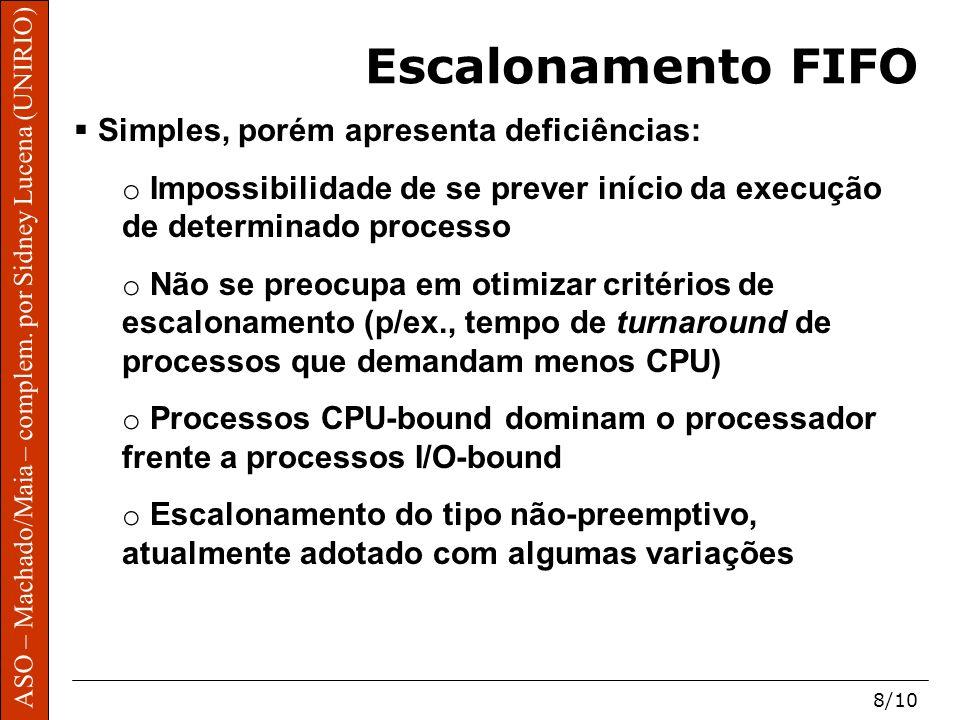 ASO – Machado/Maia – complem. por Sidney Lucena (UNIRIO) 8/10 Escalonamento FIFO Simples, porém apresenta deficiências: o Impossibilidade de se prever