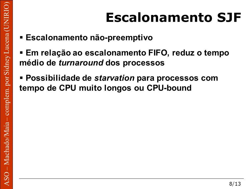ASO – Machado/Maia – complem. por Sidney Lucena (UNIRIO) 8/13 ASO – Machado/Maia – complem. por Sidney Lucena (UNIRIO) Escalonamento SJF Escalonamento