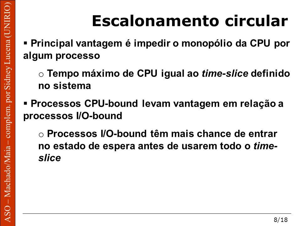 ASO – Machado/Maia – complem. por Sidney Lucena (UNIRIO) 8/18 Escalonamento circular Principal vantagem é impedir o monopólio da CPU por algum process
