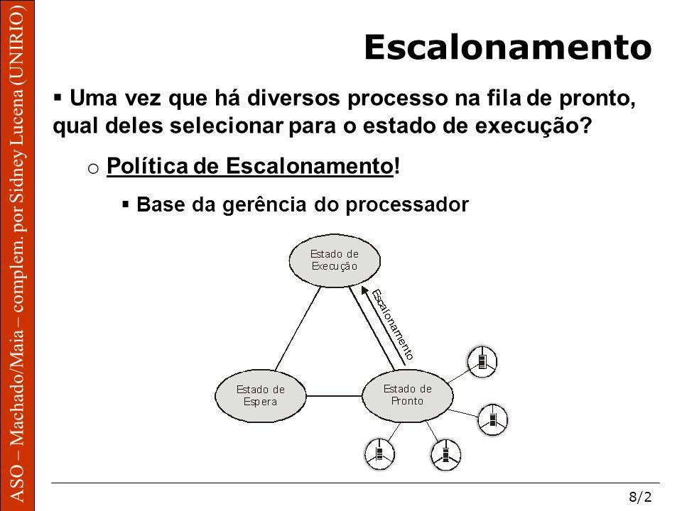 ASO – Machado/Maia – complem. por Sidney Lucena (UNIRIO) 8/2 Escalonamento Uma vez que há diversos processo na fila de pronto, qual deles selecionar p