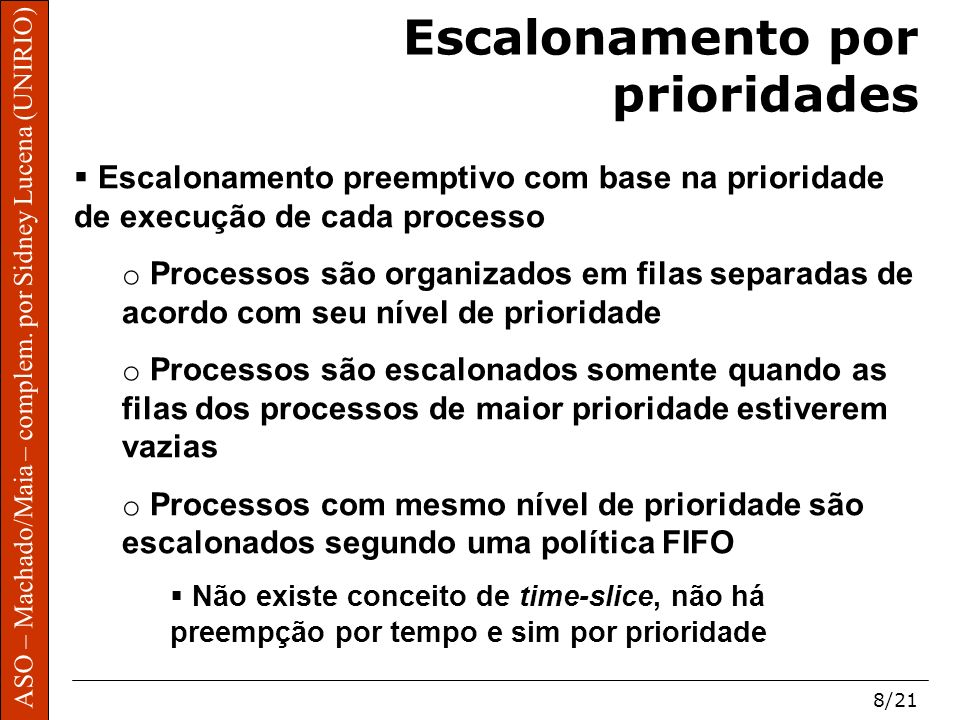 ASO – Machado/Maia – complem. por Sidney Lucena (UNIRIO) 8/21 Escalonamento por prioridades Escalonamento preemptivo com base na prioridade de execuçã