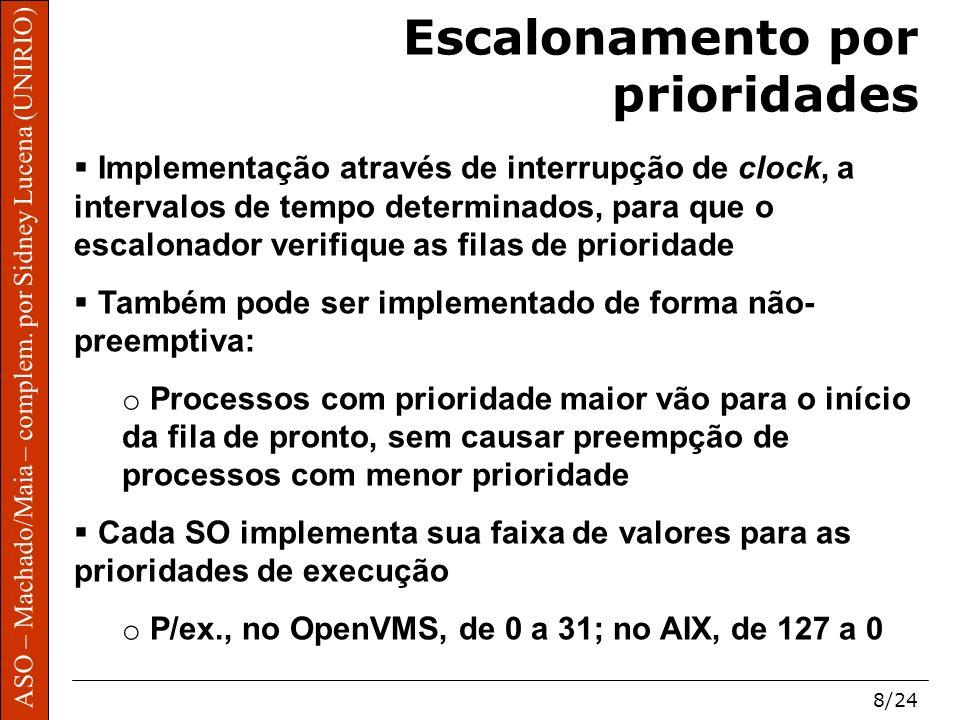 ASO – Machado/Maia – complem. por Sidney Lucena (UNIRIO) 8/24 Escalonamento por prioridades Implementação através de interrupção de clock, a intervalo