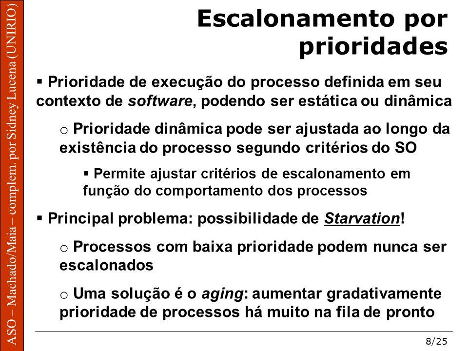 ASO – Machado/Maia – complem. por Sidney Lucena (UNIRIO) 8/25 Escalonamento por prioridades Prioridade de execução do processo definida em seu context