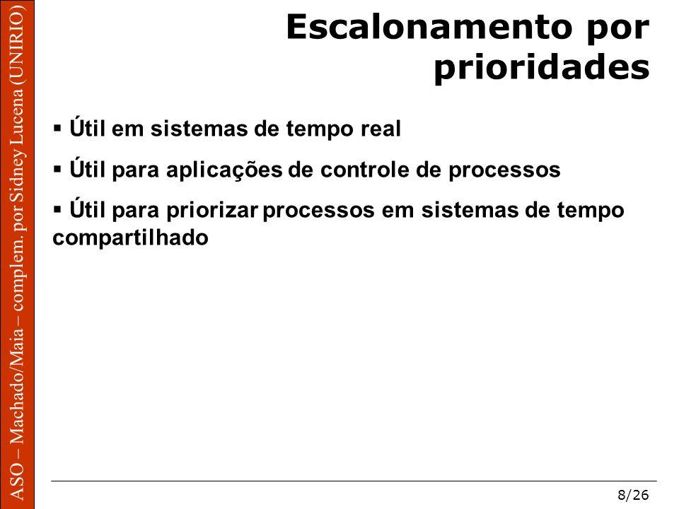 ASO – Machado/Maia – complem. por Sidney Lucena (UNIRIO) 8/26 Escalonamento por prioridades Útil em sistemas de tempo real Útil para aplicações de con
