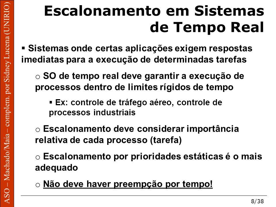 ASO – Machado/Maia – complem. por Sidney Lucena (UNIRIO) 8/38 Escalonamento em Sistemas de Tempo Real Sistemas onde certas aplicações exigem respostas