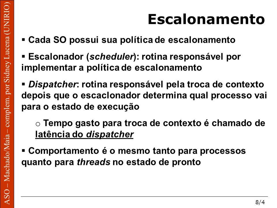 ASO – Machado/Maia – complem. por Sidney Lucena (UNIRIO) 8/4 Escalonamento Cada SO possui sua política de escalonamento Escalonador (scheduler): rotin