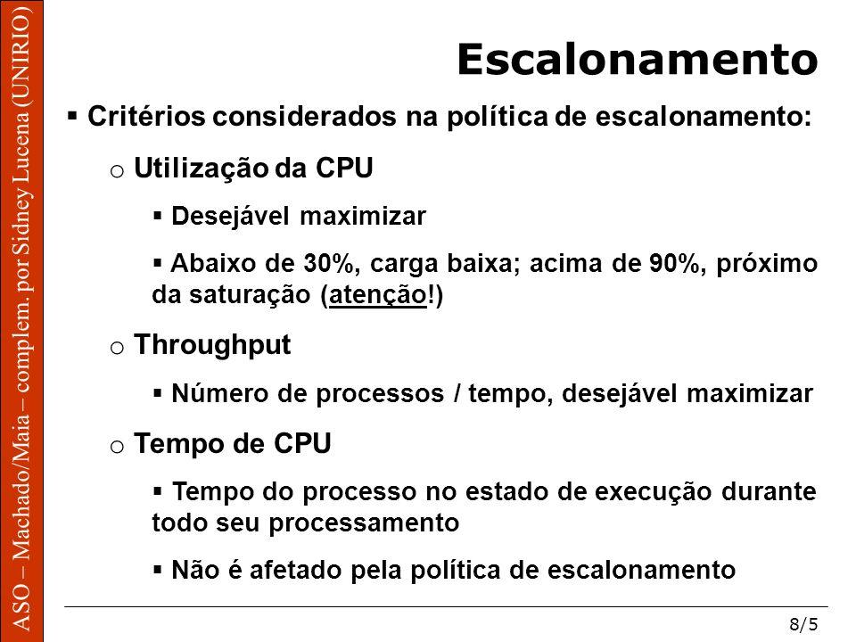 ASO – Machado/Maia – complem. por Sidney Lucena (UNIRIO) 8/5 Escalonamento Critérios considerados na política de escalonamento: o Utilização da CPU De