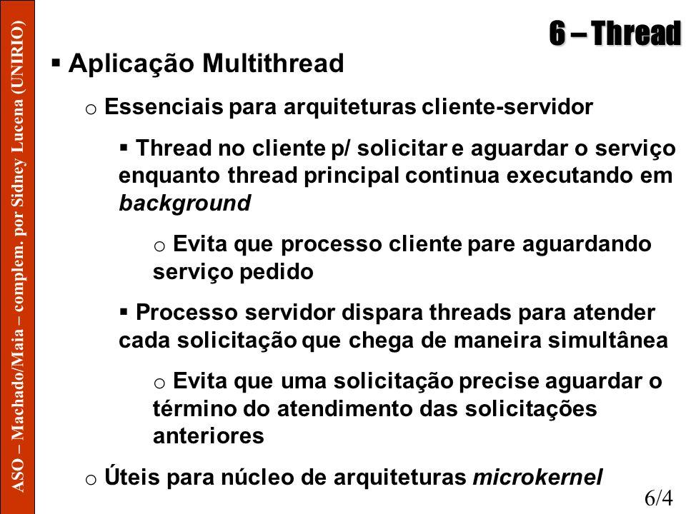 6 – Thread Aplicação Multithread o Essenciais para arquiteturas cliente-servidor Thread no cliente p/ solicitar e aguardar o serviço enquanto thread p