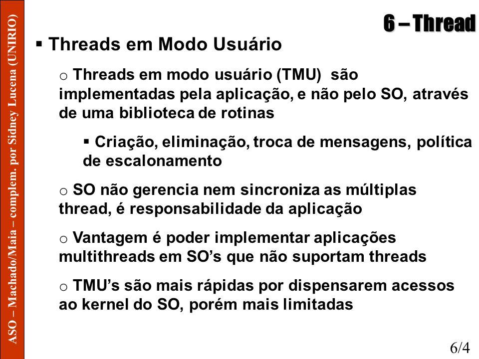 6 – Thread Threads em Modo Usuário o Threads em modo usuário (TMU) são implementadas pela aplicação, e não pelo SO, através de uma biblioteca de rotin