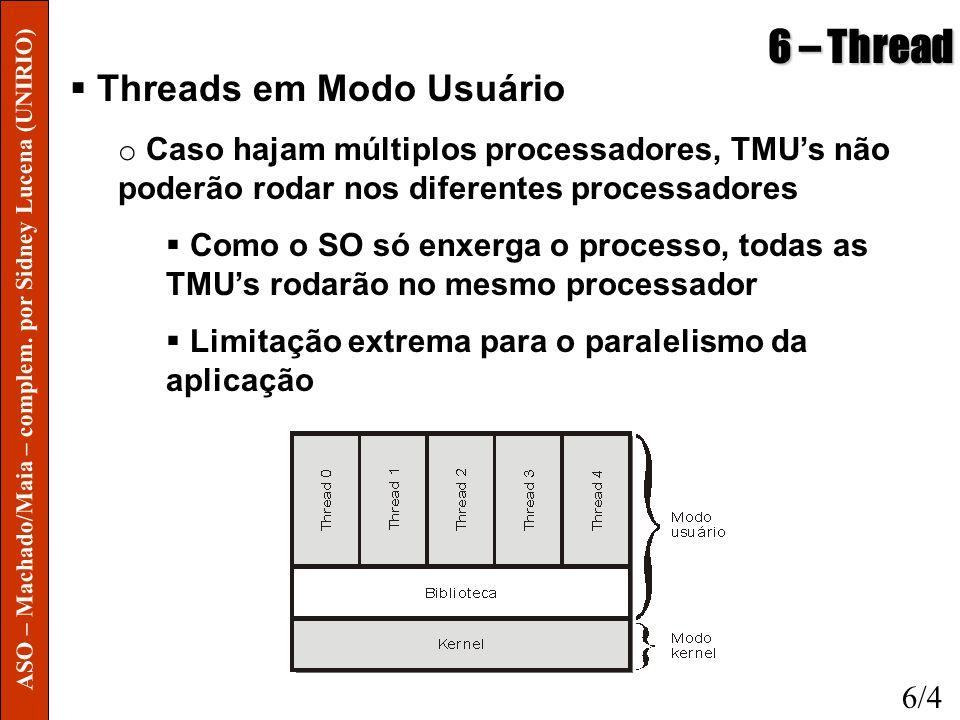 6 – Thread Threads em Modo Usuário o Caso hajam múltiplos processadores, TMUs não poderão rodar nos diferentes processadores Como o SO só enxerga o pr