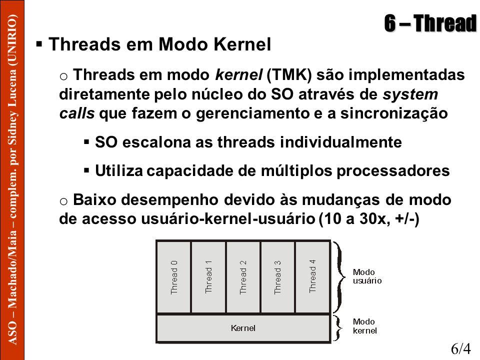 6 – Thread Threads em Modo Kernel o Threads em modo kernel (TMK) são implementadas diretamente pelo núcleo do SO através de system calls que fazem o g