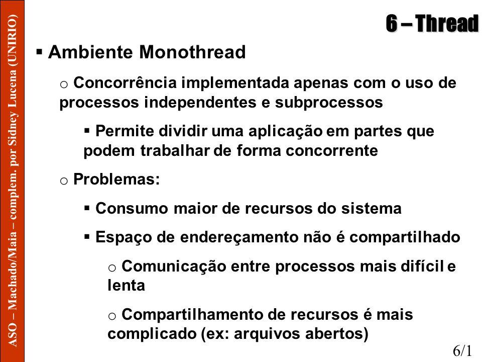 6 – Thread Ambiente Monothread o Concorrência implementada apenas com o uso de processos independentes e subprocessos Permite dividir uma aplicação em
