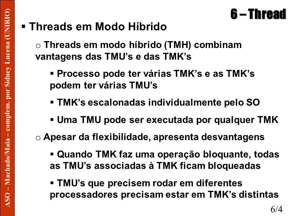 6 – Thread Threads em Modo Híbrido o Threads em modo híbrido (TMH) combinam vantagens das TMUs e das TMKs Processo pode ter várias TMKs e as TMKs pode