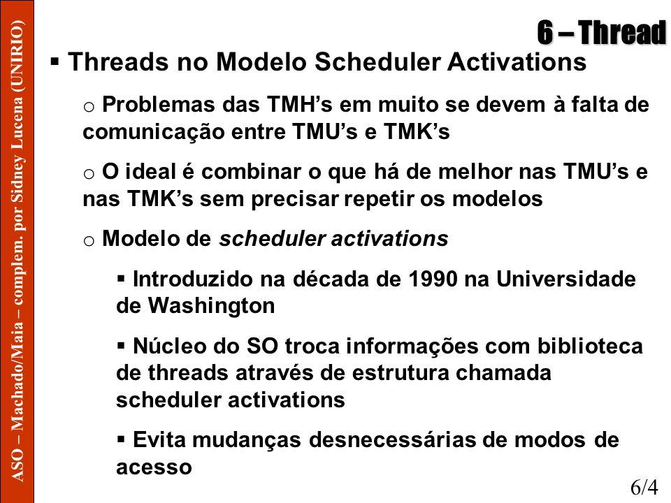 6 – Thread Threads no Modelo Scheduler Activations o Problemas das TMHs em muito se devem à falta de comunicação entre TMUs e TMKs o O ideal é combina