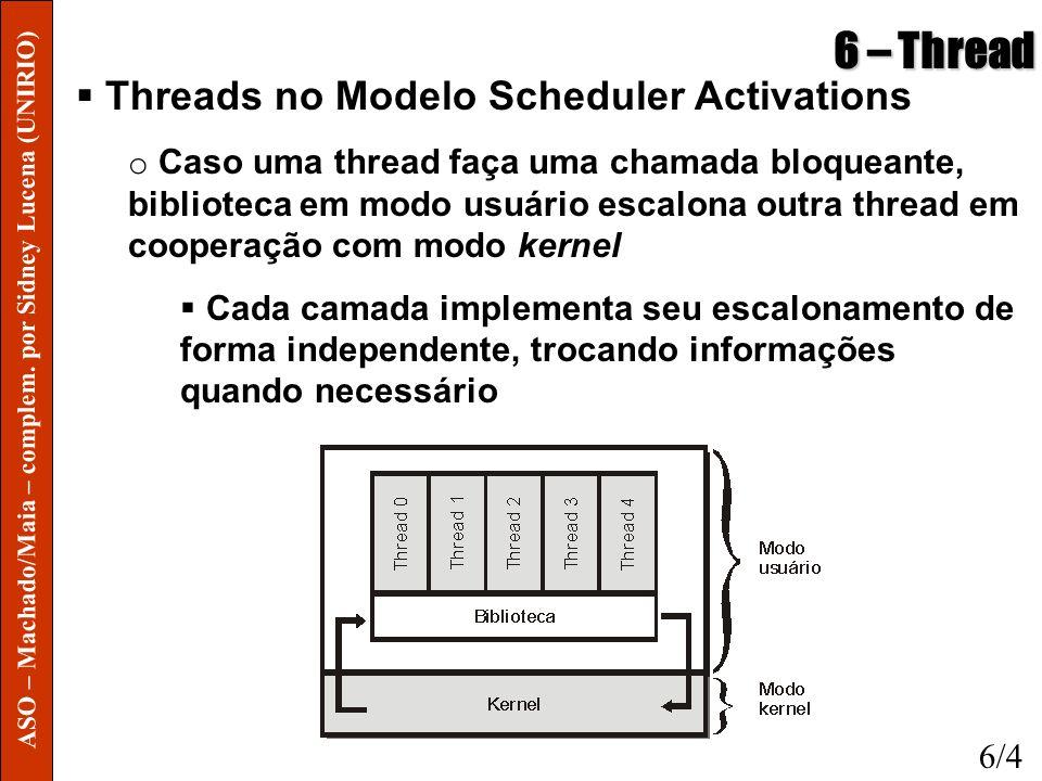 6 – Thread Threads no Modelo Scheduler Activations o Caso uma thread faça uma chamada bloqueante, biblioteca em modo usuário escalona outra thread em