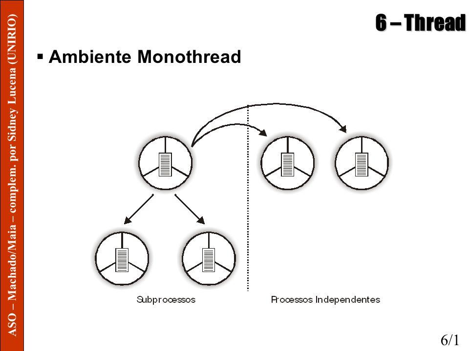 6 – Thread Modelos de Programação o Desenvolvimento de aplicações multithread exige sincronismo na comunicação e compartilhamento de recursos entre as threads Deve-se evitar problemas de inconsistência e deadlocks o Procedimento de depuração torna-se mais complicado o Fator importante para desempenho do programa é sua política de criação e eliminação de threads, o que implicará no número total de threads coexistindo o Uma boa estratégia de modularização do programa e conseqüente divisão em threads é fundamental 6/4 ASO – Machado/Maia – complem.