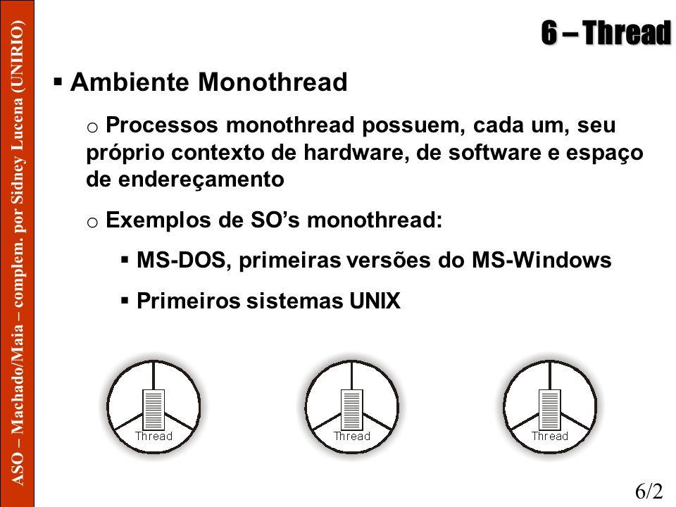 6 – Thread Ambiente Monothread o Processos monothread possuem, cada um, seu próprio contexto de hardware, de software e espaço de endereçamento o Exem