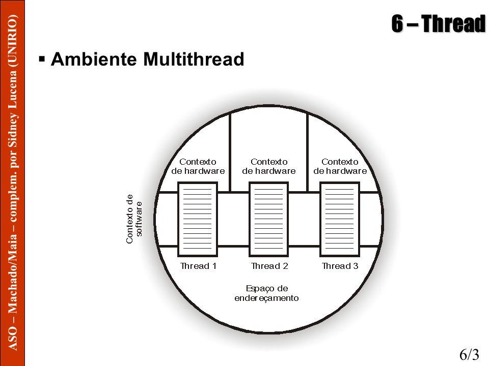 6 – Thread Threads em Modo Usuário o Threads em modo usuário (TMU) são implementadas pela aplicação, e não pelo SO, através de uma biblioteca de rotinas Criação, eliminação, troca de mensagens, política de escalonamento o SO não gerencia nem sincroniza as múltiplas thread, é responsabilidade da aplicação o Vantagem é poder implementar aplicações multithreads em SOs que não suportam threads o TMUs são mais rápidas por dispensarem acessos ao kernel do SO, porém mais limitadas 6/4 ASO – Machado/Maia – complem.